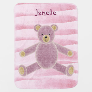 Personalized Pink Teddy Bear Baby Blanket
