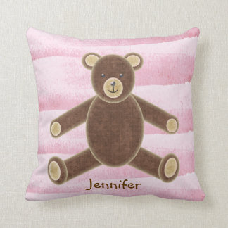 Personalized Pink Teddy Bear Pillow For Baby Girls Throw Cushions