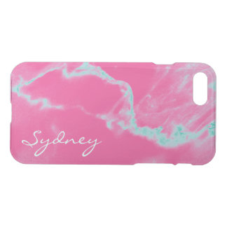 Personalized Pink & Turquoise Marble iPhone 7 Case
