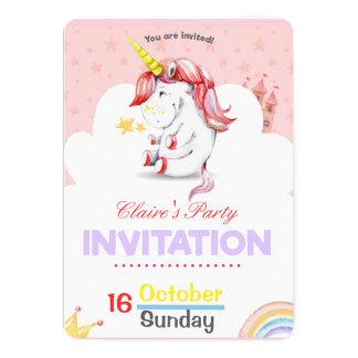 Personalized Pink Unicorn Birthday Invitation