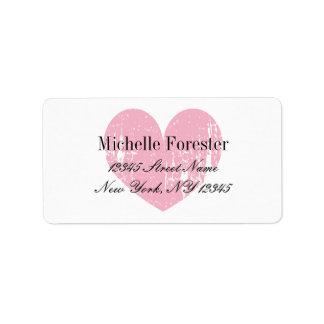 Personalized pink vintage heart address labels