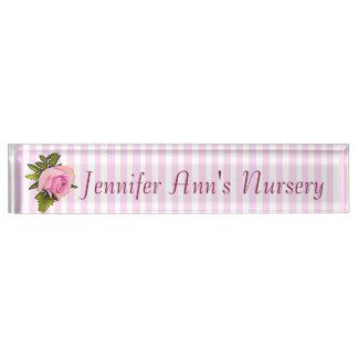 Personalized Pink Vintage Rose Baby Nursery Name Nameplate