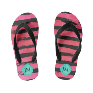Personalized Pink Watercolor Black Stripes Thongs