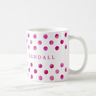 Personalized Pink Watercolor Polka Dots Basic White Mug