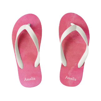 Personalized Pink Watercolor Texture Thongs