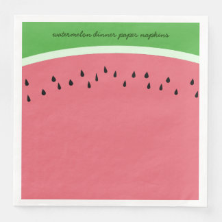 Personalized Pink Watermelon Dinner Paper Napkins