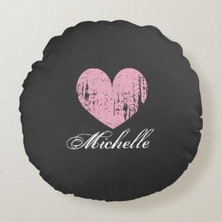 Personalized pink weathered heart round pillow