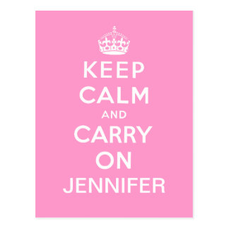 Personalized Pink White Keep Calm and Carry On Postcard