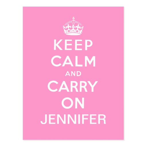 Personalized Pink White Keep Calm and Carry On Postcards