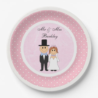 Personalized Pink & White Polka Dots Wedding Paper Plate