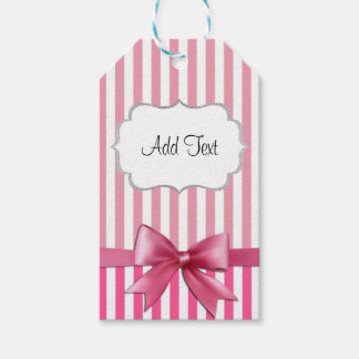 Personalized Pink & White Striped Sticker with Bow