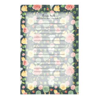 Personalized Pink Yellow Floral on Dark Green Stationery