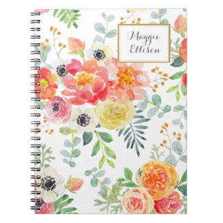 Personalized Pink Yellow Floral with Green Leaves Notebook