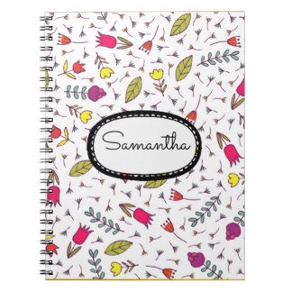 Personalized Pink Yellow Flowers and Green Leaves Notebooks