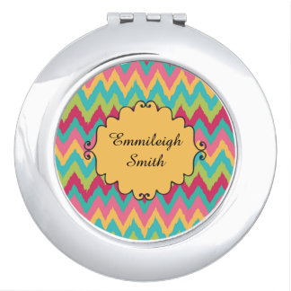 Personalized Pink Yellow Teal Green Chevron Compact Mirrors