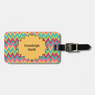Personalized Pink Yellow Teal Green Chevron Luggage Tag