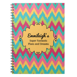 Personalized Pink Yellow Teal Green Chevron Notebook