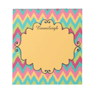 Personalized Pink Yellow Teal Green Chevron Notepad