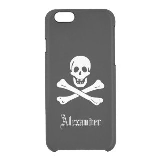 Personalized Pirate Flag Skull and Crossbones Clear iPhone 6/6S Case