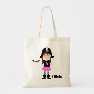 Personalized Pirate Girl Tote Bag