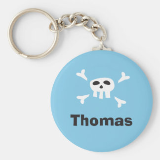 Personalized pirate party favor keychain, skull key ring