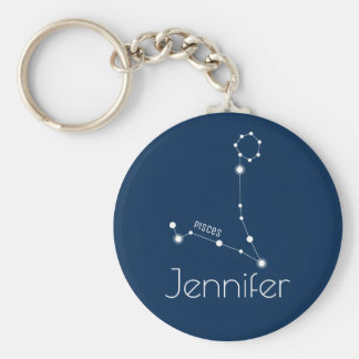 Personalized Pisces Zodiac Constellation Basic Round Button Key Ring
