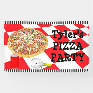 Personalized Pizza Party Birthday Party Banner