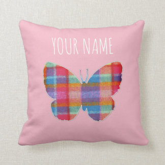 Personalized Plaid Butterfly with Heart Cushion