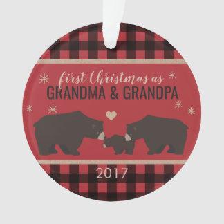 Personalized Plaid Grandparent's Acrylic Ornament