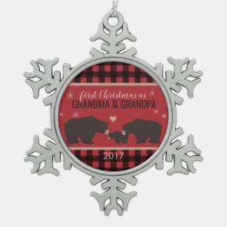 Personalized Plaid Grandparents Snowflake Ornament