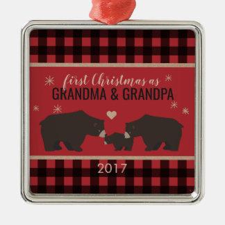 Personalized Plaid Grandparents Square Ornament