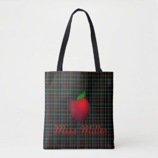 Personalized Plaid Red Apple Teacher Tote Bag
