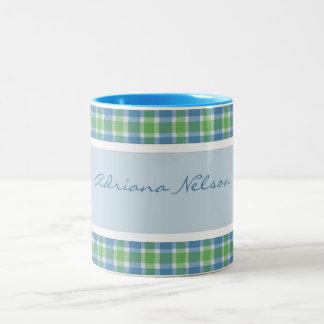 Personalized: Plaid Trimmed Mug Two-Tone Mug