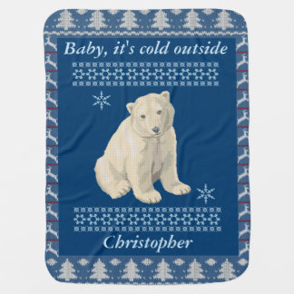 Personalized Polar Bear Snowflake Ugly Sweater Baby Blanket