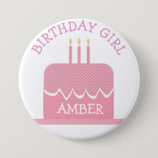 Personalized Polka Cake  Birthday Girl Button
