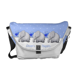 Personalized Polka Dot Elephant Parade Baby Diaper Commuter Bag