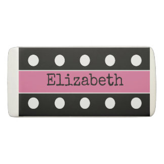 Personalized Polka dots pink Eraser