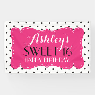 Personalized Polka Dots Sweet 16 Birthday Banner