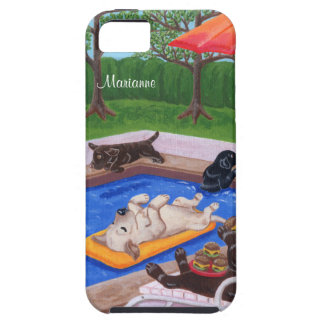 Personalized Pool Party Labradors 2 iPhone 5 Cases