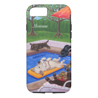 Personalized Pool Party Labradors 2 iPhone 8/7 Case