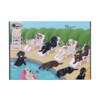 Personalized Poolside Party Labradors Cover For iPad Mini