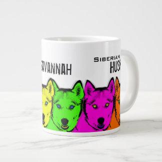 Personalized Pop Art Siberian Husky Large Coffee Mug