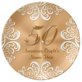 Personalized Porcelain 50th Anniversary Gold Plate Porcelain Plate