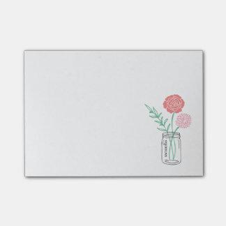 Personalized Post-It Notes | Botanical Mason Jar