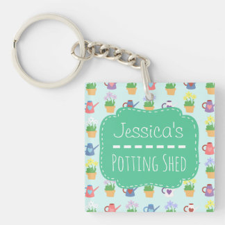 Personalized Potting Shed Double-Sided Square Acrylic Key Ring