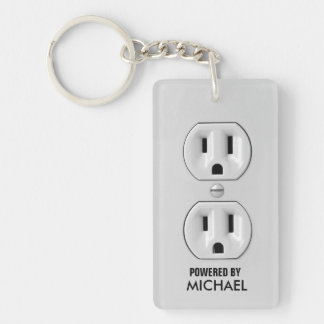 Personalized Power Outlet Key-chain Rectangle Acrylic Key Chains