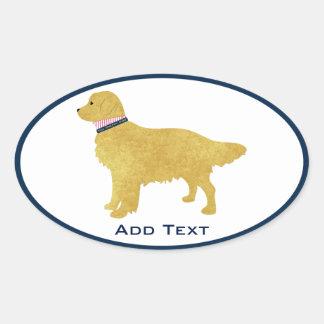 Personalized Preppy Golden Retriever Oval Sticker