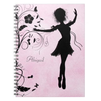 Personalized Pretty Ballerina and Flowers Notebook