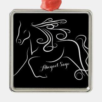 Personalized Pretty Black White Silhouette Horse Metal Ornament