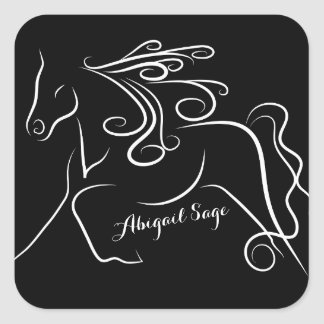 Personalized Pretty Black White Silhouette Horse Square Sticker